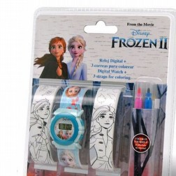 Disney Orologio digitale FROZEN Ice Magic e cinturini da colorare