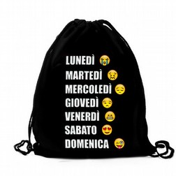 Borsa a Sacco Nera con Emoji Week Unisex .. faccine smile black emoticon